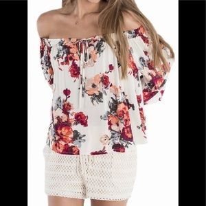 Miss Me Cream Floral Off The Shoulder Top Sz Small